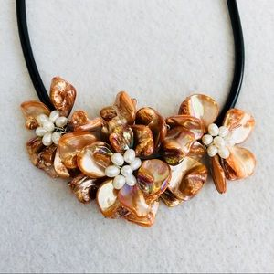Funky Artsy Floral Handmade Statement Necklace